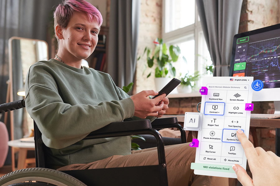 Disabled Women Using Accessibility Widget